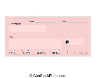 Euro cheque - Vector illustration of euro cheque with space...