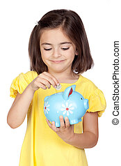 Brunette little girl with a blue moneybox isolated on a over...