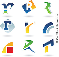 Abstract icons for letter R - Vector illustration of...