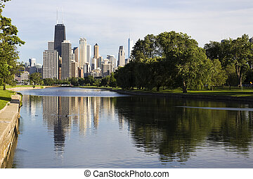 Summer view from Lincoln Park - Downtown Chicago - summer...