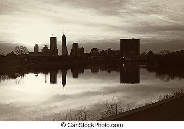 Black and White panorama of Indianapolis. Seen accross the...