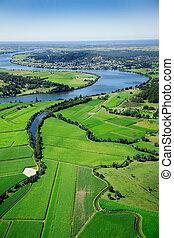 農地, 航空写真, 風景
