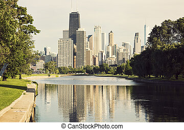 Downtown Chicago view from Lincoln Park - Downtown Chicago -...