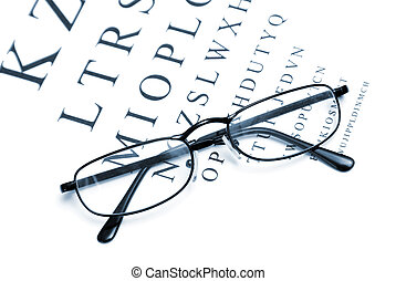 Vision Correction - An eye chart with a pair of glasses to...