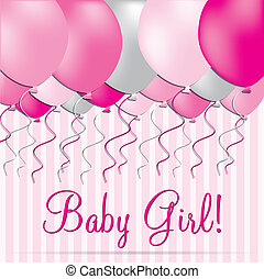 Baby Girl - Baby girl balloon card in vector format.