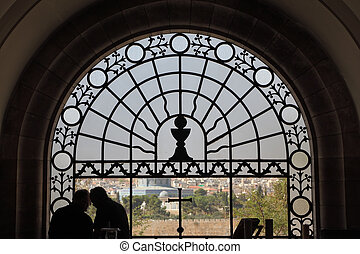 Jerusalem through a stained-glass window - Jerusalem,...