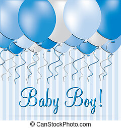 Baby Boy - Baby boy balloon card in vector format