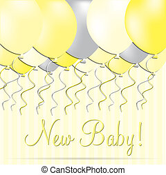 New Baby - New baby balloon card in vector format.
