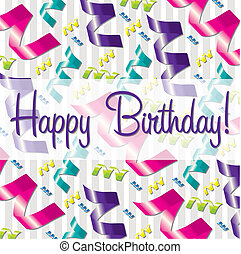 Happy Birthday - Ribbon theme birthday card in vector...