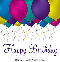 Happy Birthday - Balloon theme birthday card in vector...