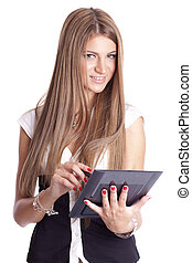 Beautiful Woman Using Tablet Computer