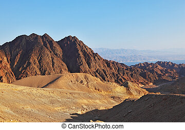 The ancient mountains of Sinai desert - Early morning in...