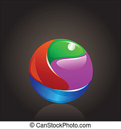 colorful chrome ball logo