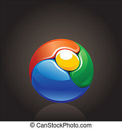 colorful chrome ball logo element