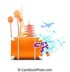 travel background - illustration of funky abstract summer...