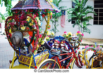 Colorful Tourists Trishaw at Malacca, Malaysia