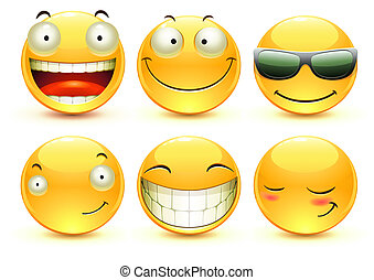 Emoticons - illustration set of cool glossy Single Emoticons