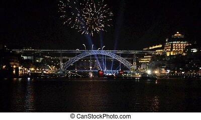 Energia Douro - PORTO - JULY 1: Ending fireworks show of...
