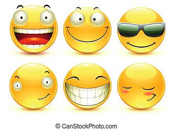 Emoticons - Vector illustration set of cool glossy Single...