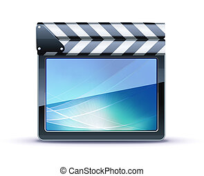 movie clapper board - Vector illustrator of closed movie...