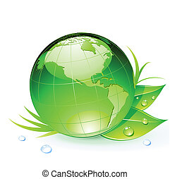 Green Earth planet - Vector illustration of Green Earth...