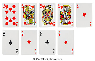 Playing cards - isolated on white background