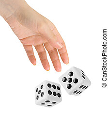 Hand throwing two dices - Hand throwing two big dices...