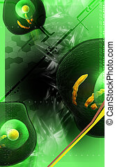 Human cell - Digital illustration of human cell in colour...