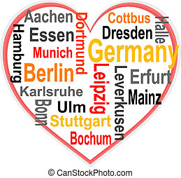 Germany Heart and words cloud with larger cities