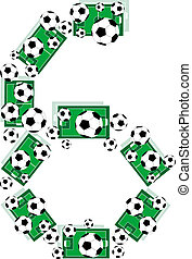 Number 6 Six from soccer balls and football fields