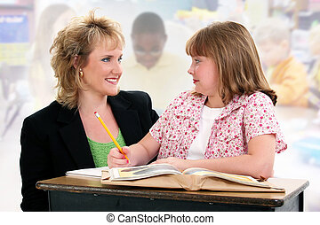 Student and Teacher at Desk in Classroom.