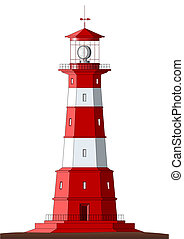 Detailed Lighthouse - isolated on white - Beautiful detailed...