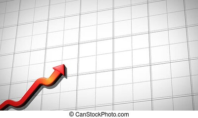 Graph rising and falling on tiles background, rising red,...