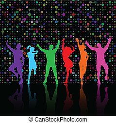 Party people dancing - Colourful silhouettes of party people...