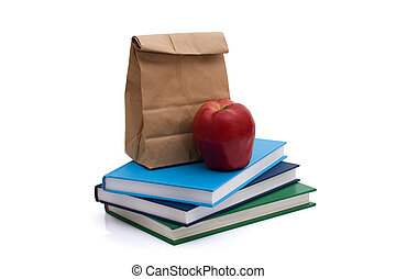 Healthy School Lunch - A lunch bag with an apple and books...