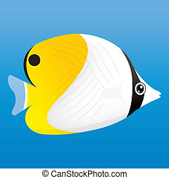 Angelfish - A vector illustration of a yellow, black and...