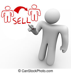 Instructor Draws Sales Diagram One Person Sells to Another -...