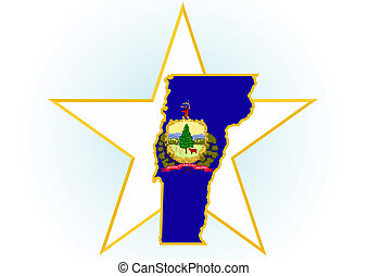Vermont - The illustration on white background. Coat of Arms...