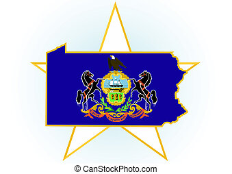 Pennsylvania - The illustration on white background Coat of...