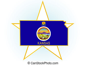 Kansas - The illustration on white background. Coat of Arms...