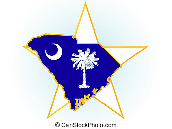 South Carolina - The illustration on white background Coat...