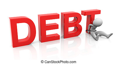 3d man and debt - 3d man tied with text 'debt'.