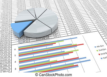 3d pie chart on spreadsheet background - 3d reflective pie...