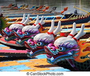 Traditional Dragon Boats in Taiwan - Decorated dragon boats...