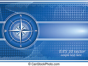 Blue background with compass rose. EPS 10