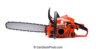 Chainsaw - New red chainsaw isolated on white.