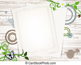 retro composition with vintage papers at wooden background