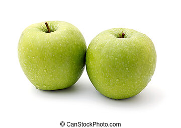 two ripe green apples