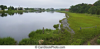 Salt Marsh Cape Cod - A panoramic view of a salt marsh on...