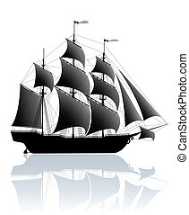 Black ship - Black old ship isolated on white